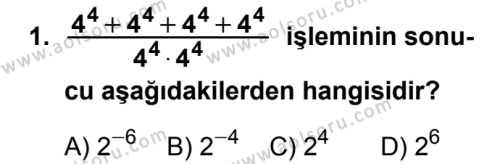 Seçmeli Matematik 3 Dersi 2018 - 2019 Yılı Ek Sınavı 1. Soru