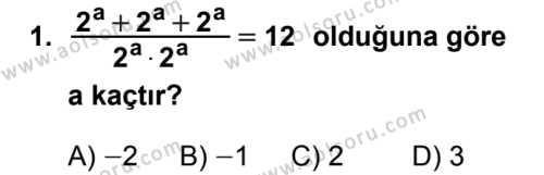 Seçmeli Matematik 3 Dersi 2019 - 2020 Yılı 1. Dönem Sınav Soruları 1. Soru