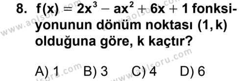 Seçmeli Matematik 4 Dersi 2011-2012 Yılı 1. Dönem Sınavı 8. Soru