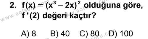 Seçmeli Matematik 4 Dersi 2011 - 2012 Yılı Ek Sınav Soruları 2. Soru
