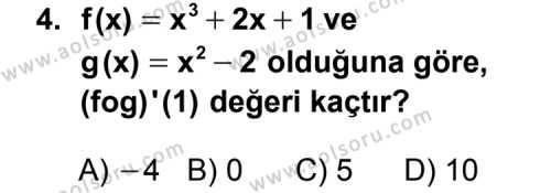 Seçmeli Matematik 4 Dersi 2011 - 2012 Yılı Ek Sınav Soruları 4. Soru