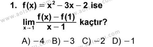 Seçmeli Matematik 4 Dersi 2012 - 2013 Yılı Ek Sınav Soruları 1. Soru