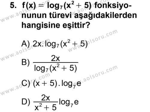 Seçmeli Matematik 4 Dersi 2012-2013 Yılı Ek Sınavı 5. Soru