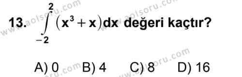 Seçmeli Matematik 4 Dersi 2012-2013 Yılı Ek Sınavı 13. Soru