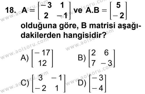 Seçmeli Matematik 4 Dersi 2012-2013 Yılı Ek Sınavı 18. Soru