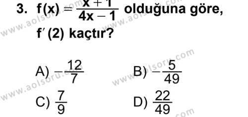 Seçmeli Matematik 4 Dersi 2013-2014 Yılı 1. Dönem Sınavı 3. Soru