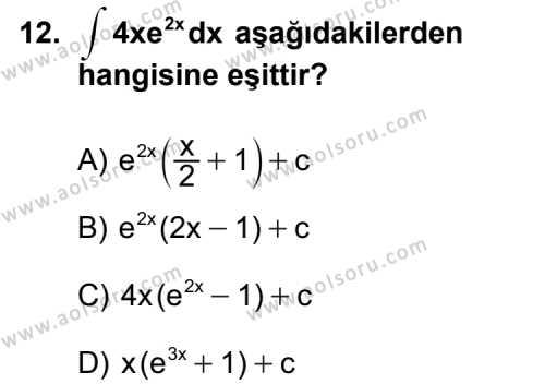 Seçmeli Matematik 4 Dersi 2013-2014 Yılı 1. Dönem Sınavı 12. Soru