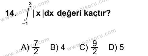 Seçmeli Matematik 4 Dersi 2013-2014 Yılı 1. Dönem Sınavı 14. Soru