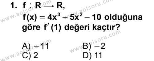 Seçmeli Matematik 4 Dersi 2015 - 2016 Yılı 1. Dönem Sınav Soruları 1. Soru
