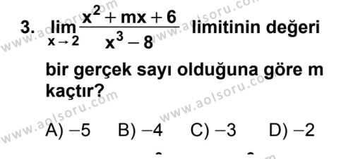 Seçmeli Matematik 4 Dersi 2018 - 2019 Yılı 1. Dönem Sınavı 3. Soru