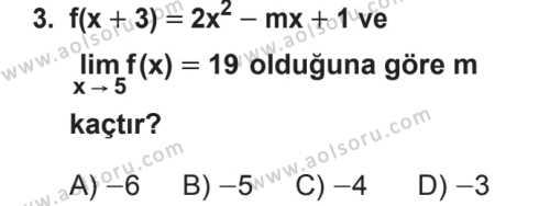 Seçmeli Matematik 4 Dersi 2018 - 2019 Yılı 2. Dönem Sınavı 3. Soru
