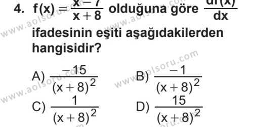 Seçmeli Matematik 4 Dersi 2018 - 2019 Yılı 2. Dönem Sınavı 4. Soru