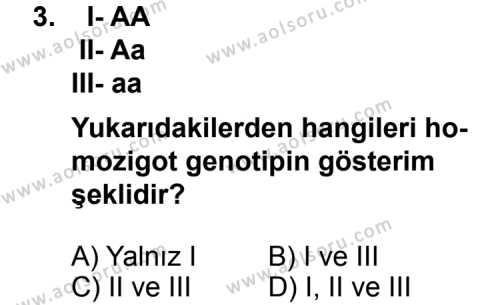 Seçmeli Biyoloji 4 Dersi 2013 - 2014 Yılı 1. Dönem Sınavı 3. Soru