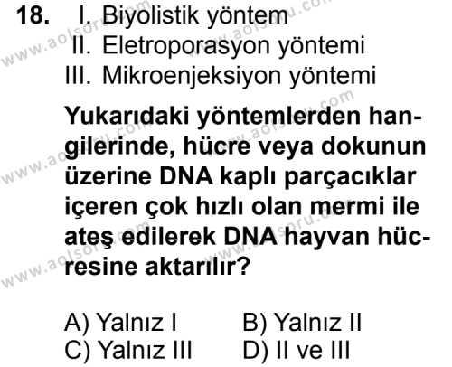 Seçmeli Biyoloji 4 Dersi 2015-2016 Yılı 1. Dönem Sınavı 18. Soru