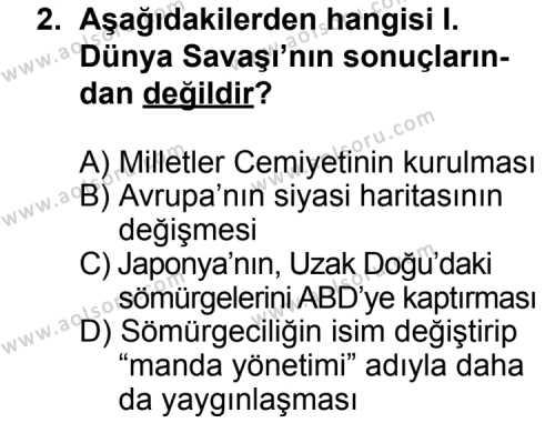 Seçmeli Çağdaş Türk ve Dünyası Tarihi 1 Dersi 2011 - 2012 Yılı Ek Sınavı 2. Soru