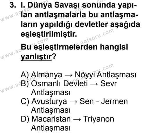 Seçmeli Çağdaş Türk ve Dünyası Tarihi 1 Dersi 2011 - 2012 Yılı Ek Sınavı 3. Soru