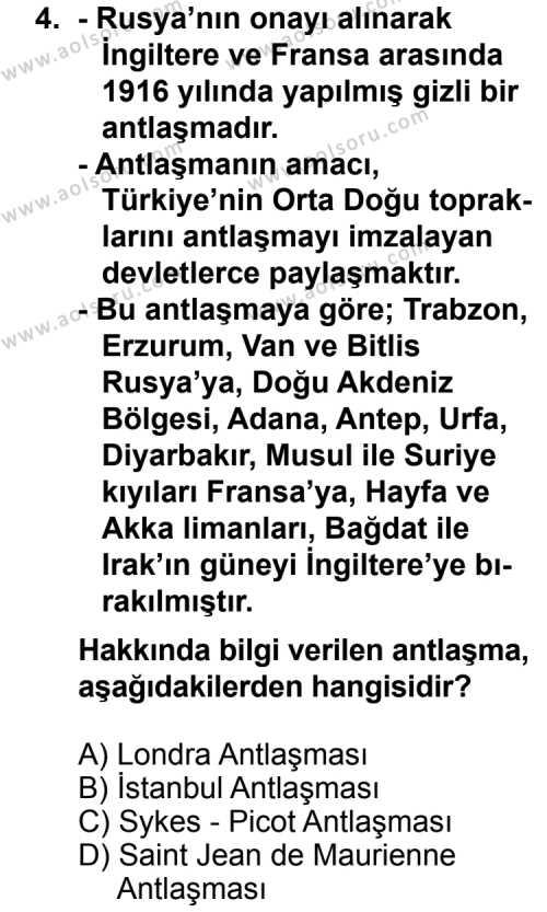 Seçmeli Çağdaş Türk ve Dünyası Tarihi 1 Dersi 2012-2013 Yılı 1. Dönem Sınavı 4. Soru