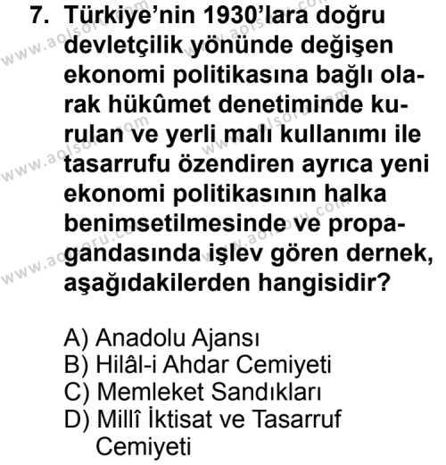 Seçmeli Çağdaş Türk ve Dünyası Tarihi 1 Dersi 2012-2013 Yılı 1. Dönem Sınavı 7. Soru