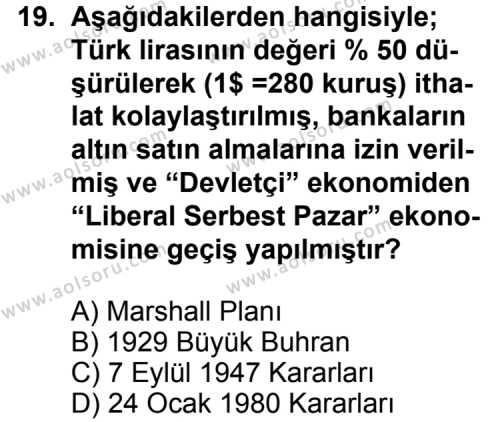Seçmeli Çağdaş Türk ve Dünyası Tarihi 1 Dersi 2013-2014 Yılı 1. Dönem Sınavı 19. Soru