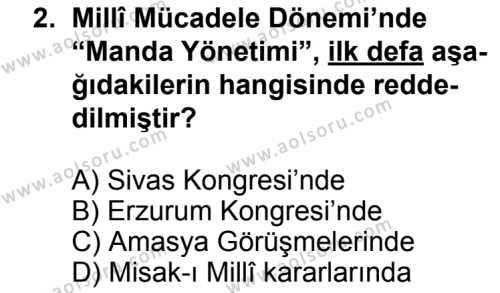 Seçmeli Çağdaş Türk ve Dünyası Tarihi 1 Dersi 2013 - 2014 Yılı 3. Dönem Sınav Soruları 2. Soru