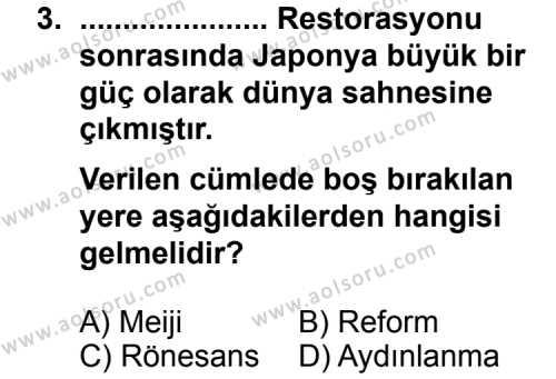 Seçmeli Çağdaş Türk ve Dünyası Tarihi 1 Dersi 2014-2015 Yılı 1. Dönem Sınavı 3. Soru