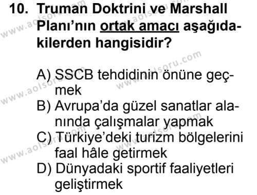Seçmeli Çağdaş Türk ve Dünyası Tarihi 1 Dersi 2014-2015 Yılı 1. Dönem Sınavı 10. Soru