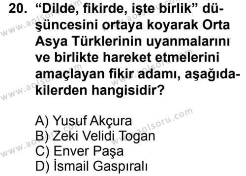 Seçmeli Çağdaş Türk ve Dünyası Tarihi 1 Dersi 2014-2015 Yılı 1. Dönem Sınavı 20. Soru