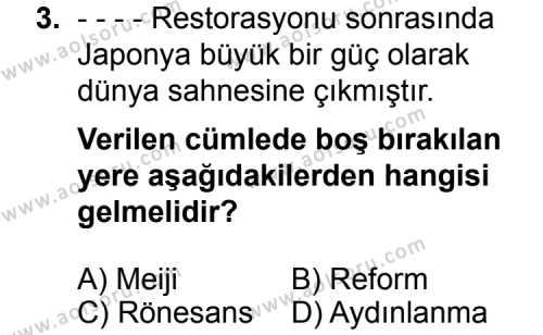 Seçmeli Çağdaş Türk ve Dünyası Tarihi 1 Dersi 2014 - 2015 Yılı Ek Sınav Soruları 3. Soru