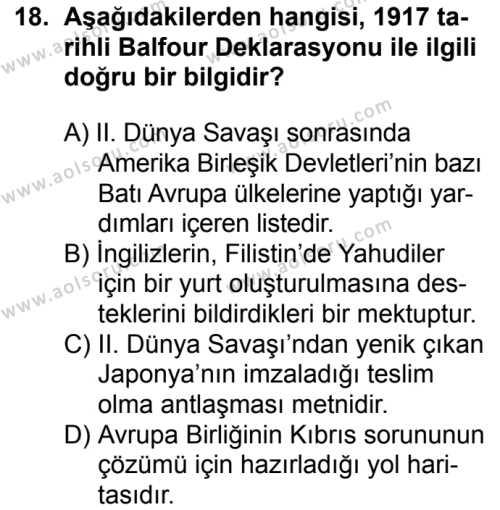 Seçmeli Çağdaş Türk ve Dünyası Tarihi 1 Dersi 2016-2017 Yılı 1. Dönem Sınavı 18. Soru