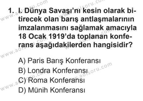 Seçmeli Çağdaş Türk ve Dünyası Tarihi 1 Dersi 2017 - 2018 Yılı 3. Dönem Sınavı 1. Soru
