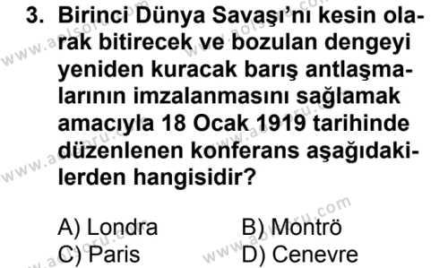 Seçmeli Çağdaş Türk ve Dünyası Tarihi 1 Dersi 2017 - 2018 Yılı Ek Sınavı 3. Soru