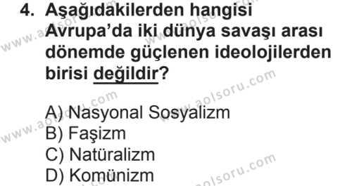 Seçmeli Çağdaş Türk ve Dünyası Tarihi 1 Dersi 2018 - 2019 Yılı 2. Dönem Sınavı 4. Soru