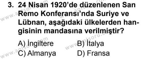 Seçmeli Çağdaş Türk ve Dünyası Tarihi 1 Dersi 2019 - 2020 Yılı 1. Dönem Sınav Soruları 3. Soru