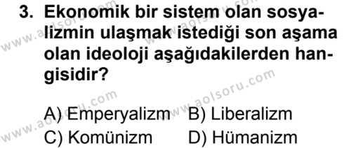 Seçmeli Çağdaş Türk ve Dünyası Tarihi 1 Dersi 2019 - 2020 Yılı 2. Dönem Sınav Soruları 3. Soru