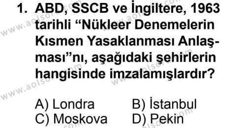 Seçmeli Çağdaş Türk ve Dünyası Tarihi 2 Dersi 2011-2012 Yılı 1. Dönem Sınavı 1. Soru