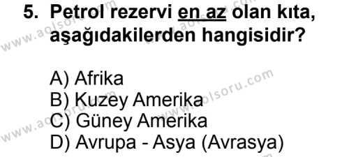 Seçmeli Çağdaş Türk ve Dünyası Tarihi 2 Dersi 2011-2012 Yılı 1. Dönem Sınavı 5. Soru