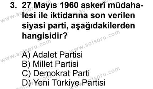 Seçmeli Çağdaş Türk ve Dünyası Tarihi 2 Dersi 2011 - 2012 Yılı Ek Sınavı 3. Soru