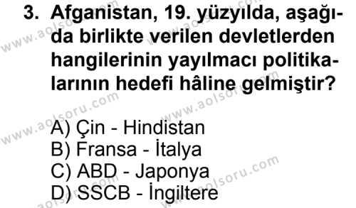 Seçmeli Çağdaş Türk ve Dünyası Tarihi 2 Dersi 2012 - 2013 Yılı 2. Dönem Sınavı 3. Soru