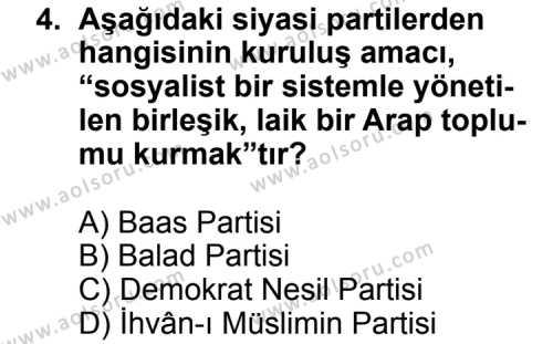 Seçmeli Çağdaş Türk ve Dünyası Tarihi 2 Dersi 2012 - 2013 Yılı 2. Dönem Sınavı 4. Soru
