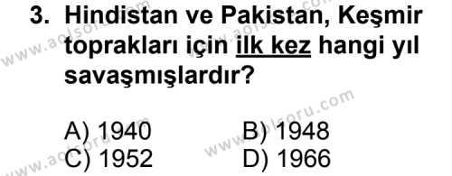 Seçmeli Çağdaş Türk ve Dünyası Tarihi 2 Dersi 2013 - 2014 Yılı 3. Dönem Sınav Soruları 3. Soru