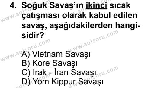 Seçmeli Çağdaş Türk ve Dünyası Tarihi 2 Dersi 2013 - 2014 Yılı 3. Dönem Sınav Soruları 4. Soru