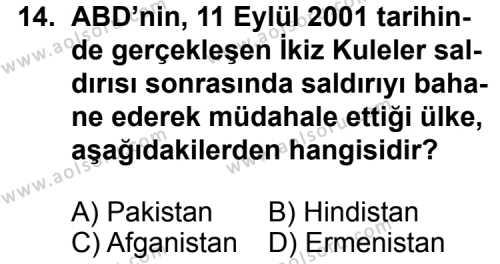 Seçmeli Çağdaş Türk ve Dünyası Tarihi 2 Dersi 2014-2015 Yılı 1. Dönem Sınavı 14. Soru