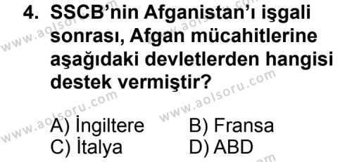 Seçmeli Çağdaş Türk ve Dünyası Tarihi 2 Dersi 2014 - 2015 Yılı Ek Sınavı 4. Soru