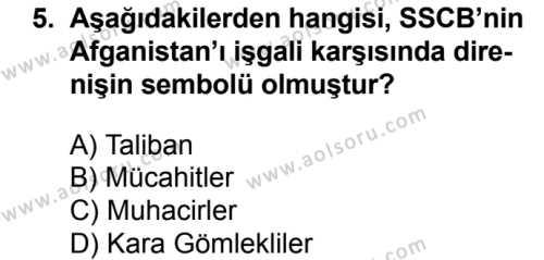 Seçmeli Çağdaş Türk ve Dünyası Tarihi 2 Dersi 2016-2017 Yılı 1. Dönem Sınavı 5. Soru