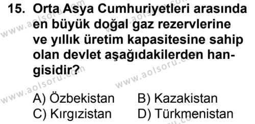 Seçmeli Çağdaş Türk ve Dünyası Tarihi 2 Dersi 2017-2018 Yılı 1. Dönem Sınavı 15. Soru