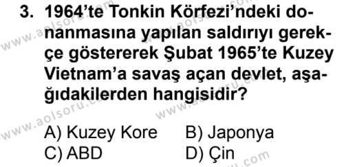 Seçmeli Çağdaş Türk ve Dünyası Tarihi 2 Dersi 2017 - 2018 Yılı 2. Dönem Sınavı 3. Soru