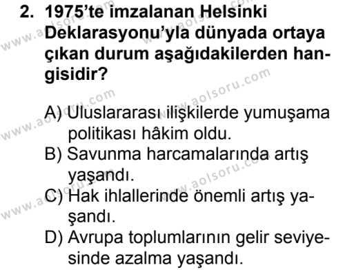 Seçmeli Çağdaş Türk ve Dünyası Tarihi 2 Dersi 2018 - 2019 Yılı 1. Dönem Sınavı 2. Soru