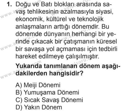 Seçmeli Çağdaş Türk ve Dünyası Tarihi 2 Dersi 2018 - 2019 Yılı 2. Dönem Sınavı 1. Soru