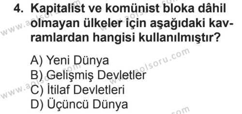 Seçmeli Çağdaş Türk ve Dünyası Tarihi 2 Dersi 2018 - 2019 Yılı 2. Dönem Sınavı 4. Soru