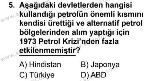 Seçmeli Çağdaş Türk ve Dünyası Tarihi 2 Dersi 2019-2020 Yılı 1. Dönem Sınavı 5. Soru